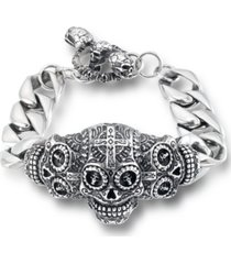 andrew charles by andy hilfiger men's ornamental skull curb link bracelet in stainless steel
