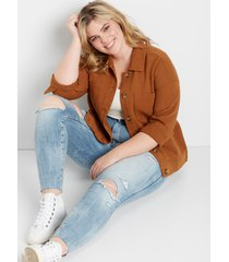 maurices plus size womens cognac pocket cinched utility jacket brown