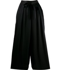 mcq alexander mcqueen belted palazzo trousers - black