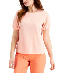 style & co petite textured volume-sleeve top, created for macy's