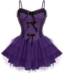 plus size tulle lace panel bowknot cami babydoll