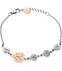 bracciale coccinelle in acciaio bicolore e strass per donna
