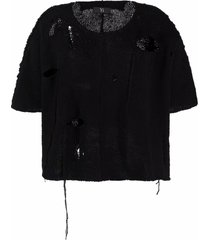y's distressed chunky-knit top - black