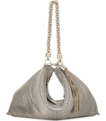 jimmy choo callie mesh clutch - silver