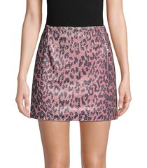 free people women's cheetah-print sequin mini skirt - pink cheetah - size 6