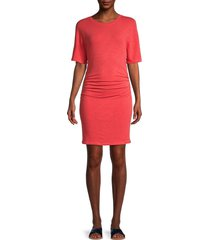 monrow women's ruched elbow-sleeve dress - nectar - size xl