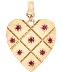 'heart' ruby 14k yellow gold bracelet charm - small