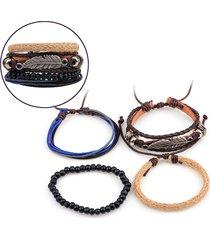 braccialetto degli uomini del foglio puro handmade della canapa di vitello della canapa della corda multi-radice del braccialetto di combinazione