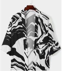 cárdigan informal con estampado de rayas zebra para hombre