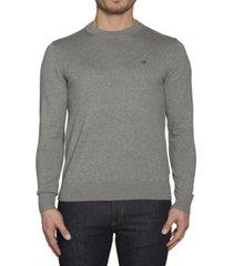 sweater gris calvin klein cotton blend cn embro sweater