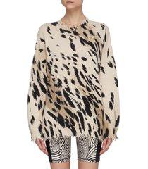 cheetah print frayed hem oversized cotton sweater