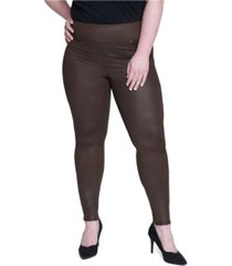 seven7 jeans women's plus size tummy toner pull-on coated ponte pants