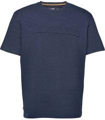 ss k-r embossed tee dark sapphire t-shirts short-sleeved blå timberland