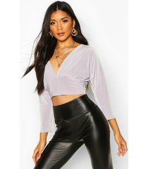 deep v front batwing top, grey