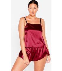 womens sheen it coming plus satin pajama shorts set - burgundy