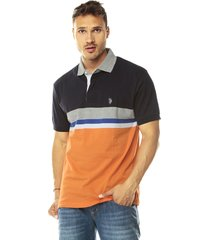 camiseta polo azul-naranja-gris us polo assn