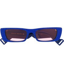 gucci eyewear rhinestone embellished sunglasses - blue