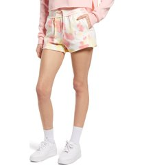 bp. french terry shorts, size small in yellow/pink tie dye at nordstrom