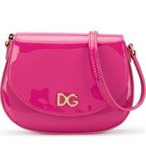 dolce & gabbana kids bolsa tiracolo com logo dg - rosa