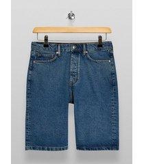 mens blue mid wash skater denim shorts