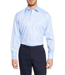 men's big & tall david donahue regular fit oxford cotton dress shirt, size 18.5 - 36/37 - blue