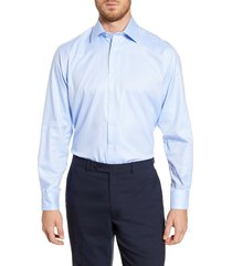 men's big & tall david donahue regular fit oxford dress shirt, size 18.5 - 36/37 - blue