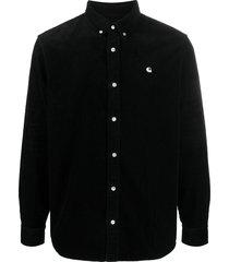 carhartt wip logo-embroidered corduroy shirt - black
