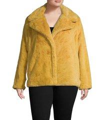 avec les filles women's plus notched faux fur jacket - navy - size 3x (22-24)