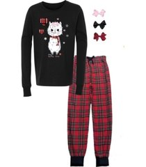mi amore gigi little and big girls interchangeable bow 3d llama graphic pajama set