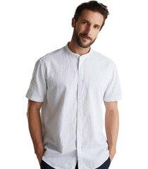 camisa de manga corta con cuello alto blanco esprit