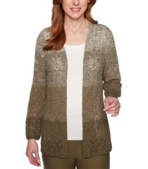 alfred dunner cedar canyon ombre pointelle cardigan sweater