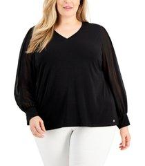 calvin klein plus size chiffon-sleeve blouse