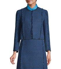 boss women's johellana fringe tweed cropped jacket - midnight fantasy - size 10