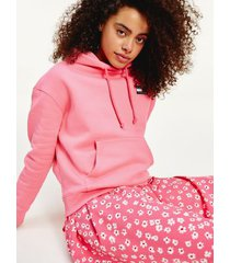 tommy hilfiger women's organic cotton badge hoodie glamour pink - xxs