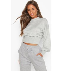 petite balloon sleeve sweat top, grey