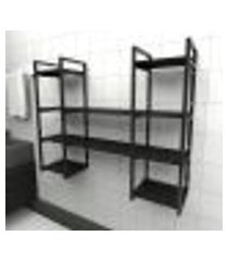 prateleira industrial banheiro aço cor preto 120x30x98cm (c)x(l)x(a) cor mdf preto modelo ind50pb