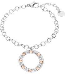bracciale in acciaio con ciondolo farfalle oro rosa e cristalli per donna