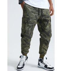 koyye hombres cool fashion camo print cordón carga pantalones