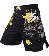 pantaloneta hombre suotf mma calavera muay thai boxeo 12038 amarillo