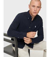 polo ralph lauren featherweight long sleeve knit skjortor navy blue