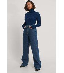trendyol ribbstickad tröja - navy