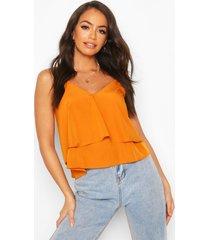 strappy double cami top, orange