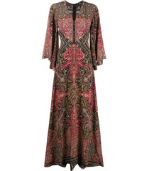 etro patchwork-print long silk dress - red