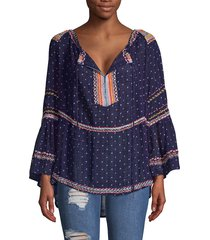 free people women's talia embroidery bell-sleeve top - starless - size s
