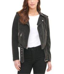 levi's women's belted faux suede moto jacket
