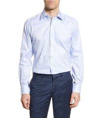 men's big & tall david donahue trim fit tattersall plaid dress shirt, size 18.5 - 36/37 - blue