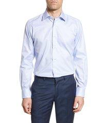 men's big & tall david donahue trim fit tattersall plaid dress shirt, size 17.5 - 36/37 - blue