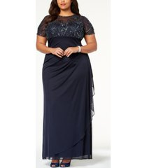 xscape plus size embellished empire-waist gown