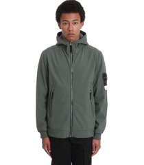 stone island casual jacket in green polyester
