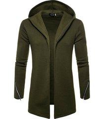 koyye chaqueta informal de color sólido con capucha para hombre